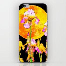 SURREAL IRIS GARDEN & RISING GOLD MOON IN BLACK SKY iPhone Skin