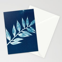 Minimal Ruscus blue botanical fine art plant print / vintage cyanotype Art Print Stationery Cards
