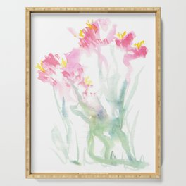 Pink Watercolor Flowers Serving Tray