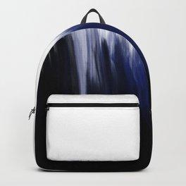 Modern blue cobalt black oil paint brushstrokes abstract Backpack