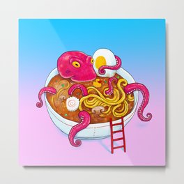 Bowl of ramen with octopus taking a bath vaporwave Metal Print