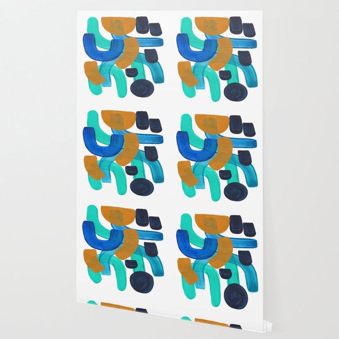 Minimalist Abstract Colorful Mid Marine Blues Blue Teal