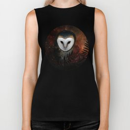Barn owl at night Biker Tank