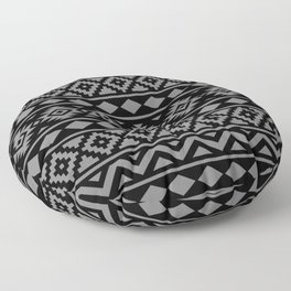 Aztec Essence Ptn III Grey on Black Floor Pillow