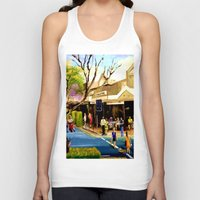 cafe Tank Tops featuring Sidewalk Cafe by Helen Syron