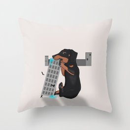 Attack of the Enormous Dachshund!!! Throw Pillow