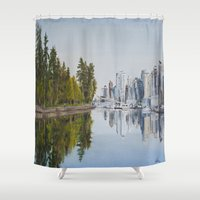 vancouver Shower Curtains featuring Vancouver Juxtaposition by Andrea Vreken Art