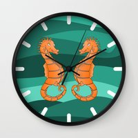 seahorse Wall Clocks featuring Seahorse by mailboxdisco
