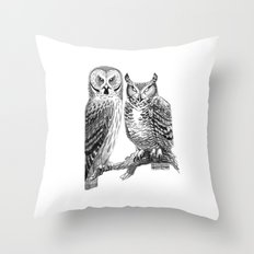 Bubo and Strix Throw Pillow