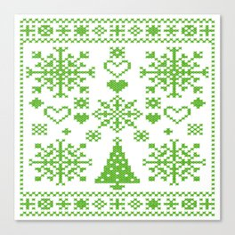 Christmas Cross Stitch Embroidery Sampler Green And White Canvas Print