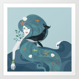 Aquatic Life of a Seaflower Art Print