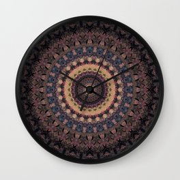 Mandala in purple and brown tones Wall Clock