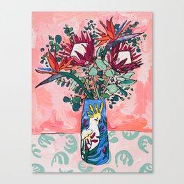Cockatoo Vase on Painterly Pink Canvas Print