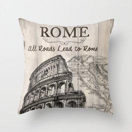 Vintage Travel Poster Rome Throw Pillow