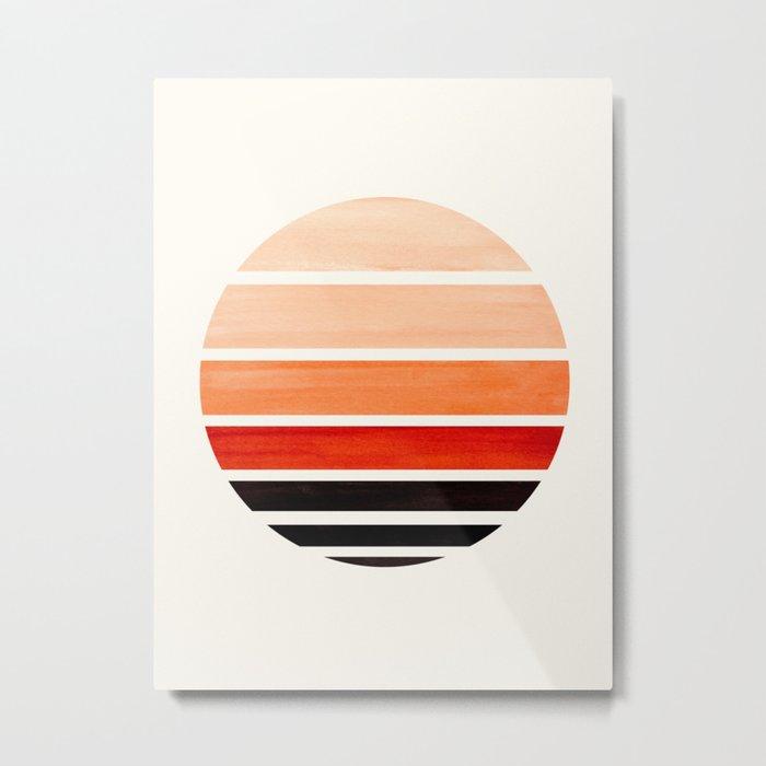Burnt Sienna Mid Century Modern Minimalist Circle Round Photo Staggered Sunset Geometric Stripe Desi Metal Print