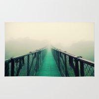 bridge Area & Throw Rugs featuring suspension bridge by Sookie Endo