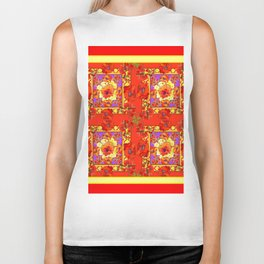 PATTERNED  RED & GOLD ART DECO ORANGE-RED POPPIES Biker Tank