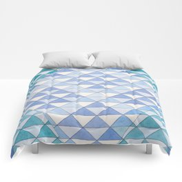 Triangle Pattern No. 9 Shifting Blue and Turquoise Comforters