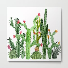 Green Simple Cacti Metal Print