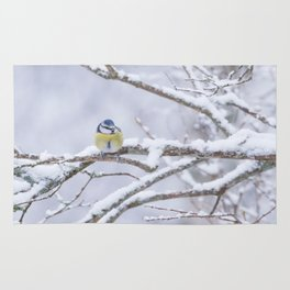 Blue Tit On A Snowy Branch Winter Scene #decor #society6 Rug