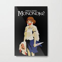 Princesse Mononoke on black Metal Print