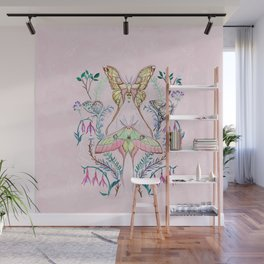 Chinese Moon Moth and Butterflies Wall Mural