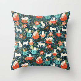 Spicy Kittens Throw Pillow