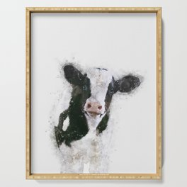 Holstein Cow Watercolor Serving Tray
