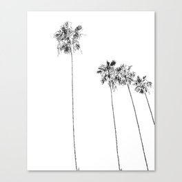 Minimal Black and White Palm Trees Canvas Print
