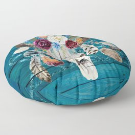 Rustic Glam Boho Chic in Teal Floor Pillow