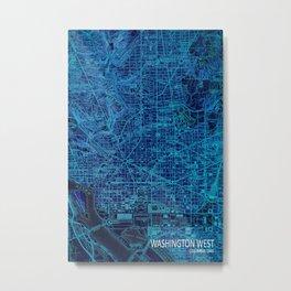 Washington West ols map, blue art print for man cave Metal Print