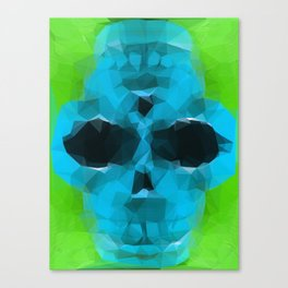 psychedelic skull art geometric triangle abstract pattern in blue and green Canvas Print