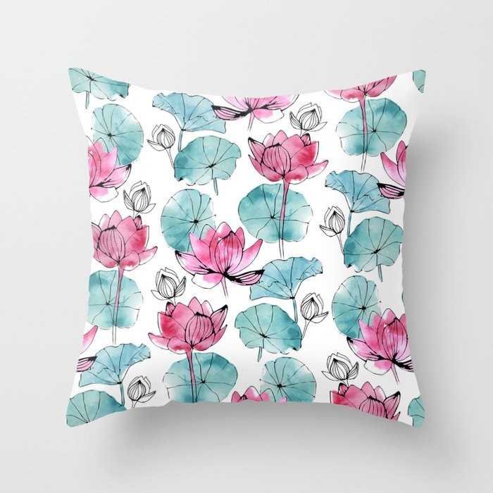 Waterlily buds Throw Pillow