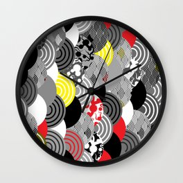Nature background with japanese sakura flower, Cherry, wave circle Black gray white Red Yellow Wall Clock