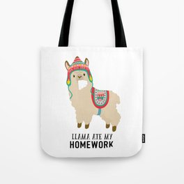 Llama ate my homework Tote Bag