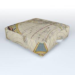 Antique Map Outdoor Floor Cushion