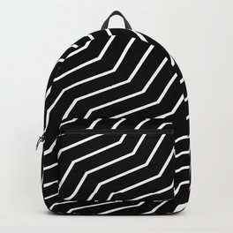 Black Solid Zig Zag Geometric Pattern Backpack