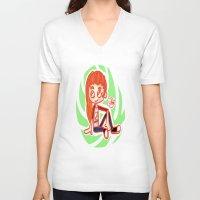 sport V-neck T-shirts featuring Sport Girl by Glopesfirestar