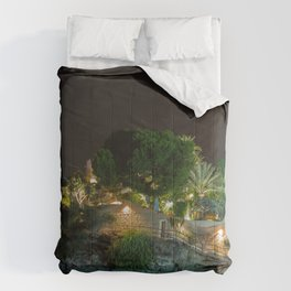 Spain Calp Crag river Evening Street lights Trees Houses Cities Rock Cliff Rivers Building Comforters
