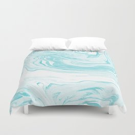 Giro - spilled ink abstract marble watercolor japanese painting marbling unique mint pastel  Duvet Cover