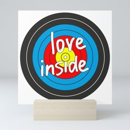 Love inside yellow, red, blue, black target Mini Art Print