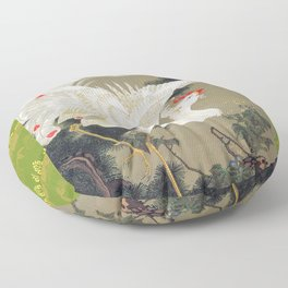 Jakuchu Phoenix with Paulownia Background Floor Pillow