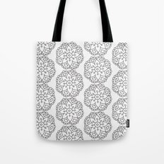 Silver grey lace floral Tote Bag
