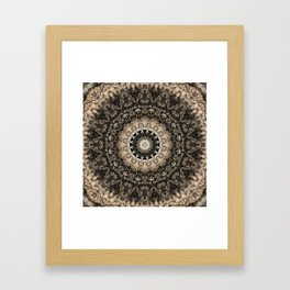 Dark Brown Boho Mandala Framed Art Print