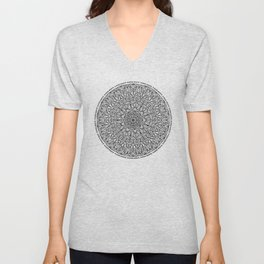 Circle of Life Mandala Black and White Unisex V-Neck
