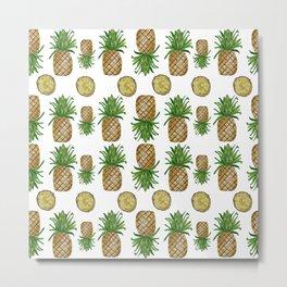 Watercolor Pineapples - repeat pattern Metal Print