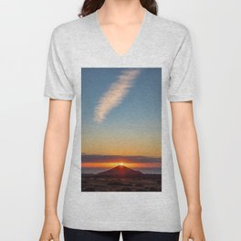 Sunset on top of volcano Unisex V-Neck