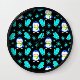 Cute smiling little baby penguins with warm woolen scarves, blue knitted mittens winter pattern Wall Clock