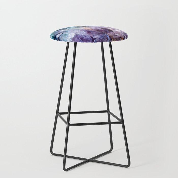 Turquoise & Purple Quartz Crystal Bar Stool