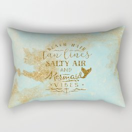 Beach - Mermaid - Mermaid Vibes - Gold glitter lettering on teal glittering background Rectangular Pillow
